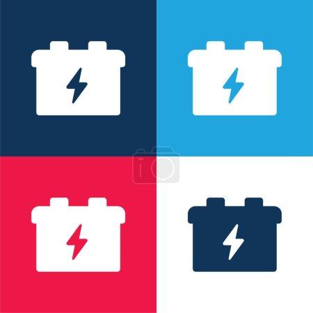 Batería azul y rojo conjunto de iconos mínimo de cuatro colores