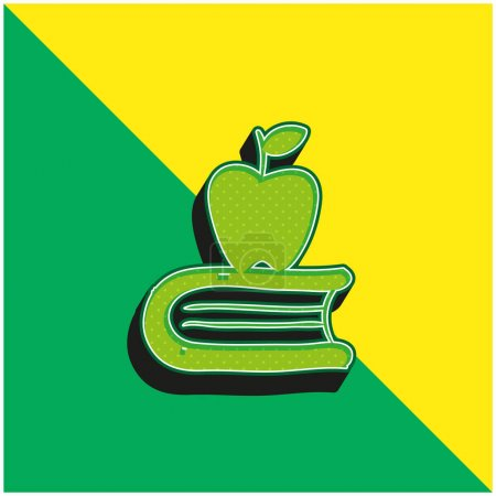Apple On A Book Green and yellow modern 3d vector icon logo