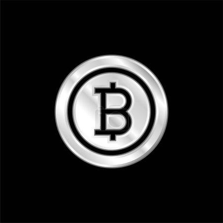 Photo pour Bitcoin argent plaqué icône métallique - image libre de droit