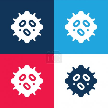 Photo for Bacteria blue and red four color minimal icon set - Royalty Free Image