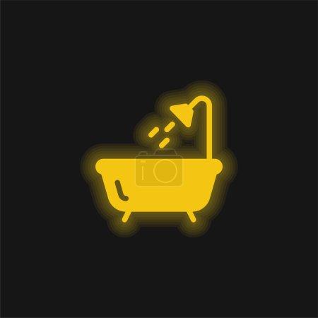 Bath yellow glowing neon icon