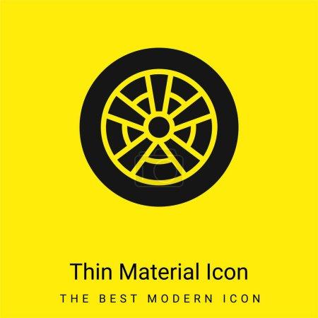 Illustration pour Roue en alliage minime icône de matériau jaune vif - image libre de droit