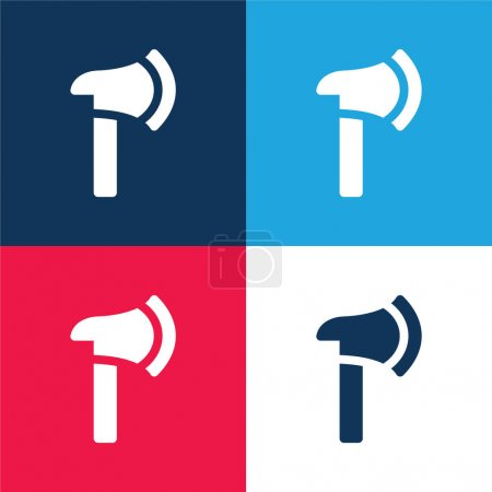 Illustration for Axe blue and red four color minimal icon set - Royalty Free Image
