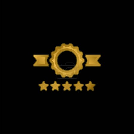 Illustration for Badge gold plated metalic icon or logo vector - Royalty Free Image