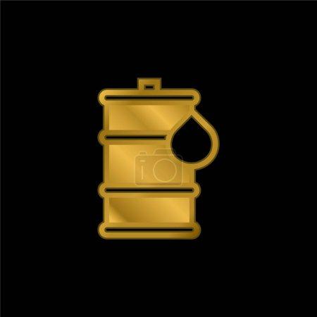 Illustration pour Baril plaqué or icône métallique ou logo vecteur - image libre de droit