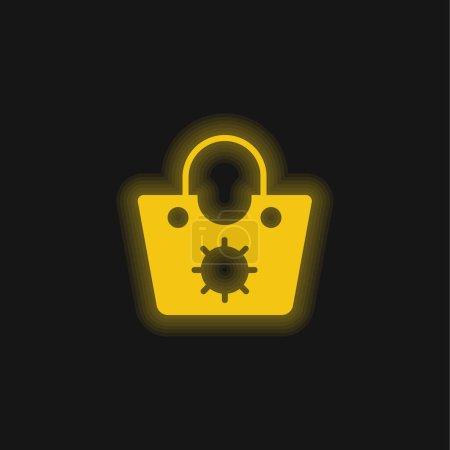 Torebka żółta świecąca ikona neonu