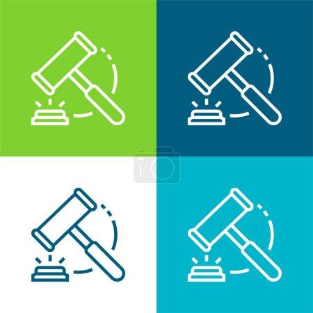 Illustration pour Vente aux enchères Ensemble d'icônes minimal quatre couleurs - image libre de droit