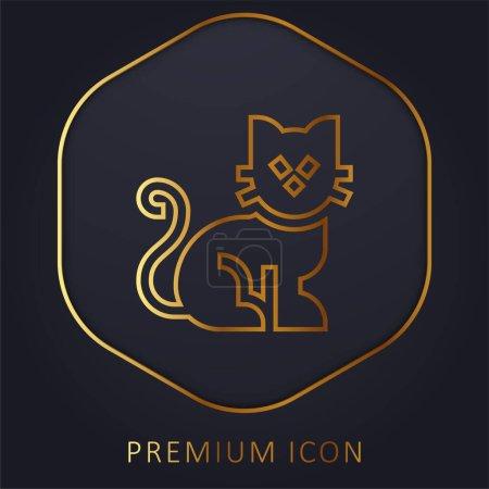 Illustration pour Black Cat ligne d'or logo premium ou icône - image libre de droit