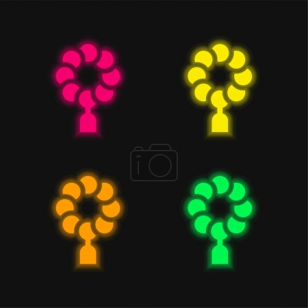 Photo for Beads four color glowing neon vector icon - Royalty Free Image