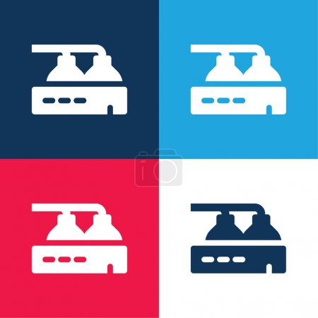 Illustration for Beer Factory blue and red four color minimal icon set - Royalty Free Image