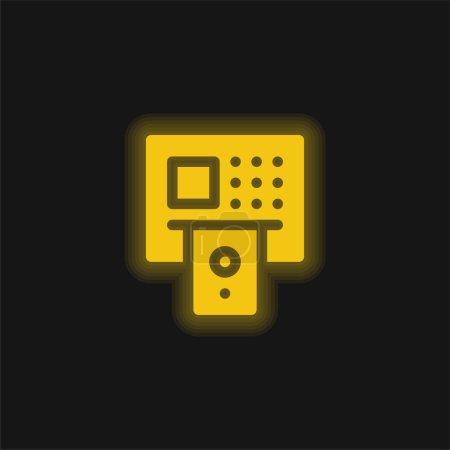 Illustration pour Icône fluo jaune ATM - image libre de droit