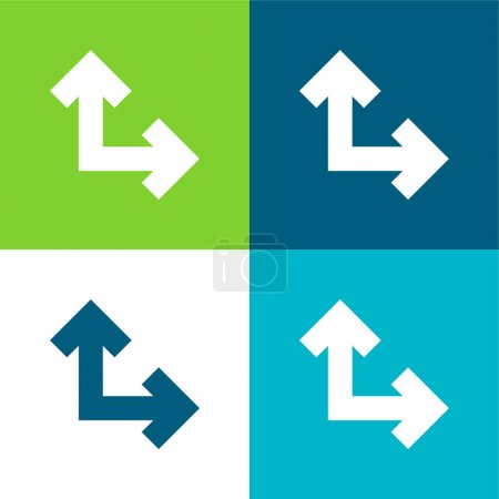 Illustration pour Flèches à angle droit Quatre couleurs minimum jeu d'icônes - image libre de droit