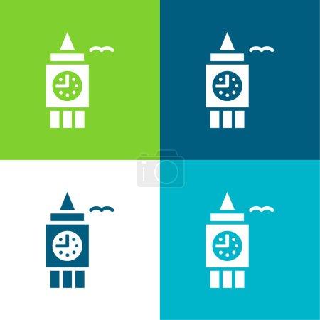 Illustration for Big Ben Flat four color minimal icon set - Royalty Free Image