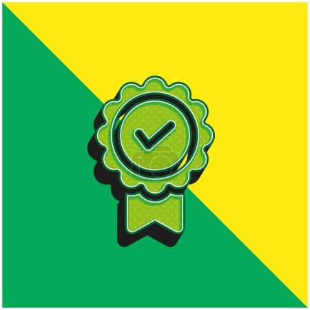 Illustration pour Insigne Logo vectoriel 3d moderne vert et jaune - image libre de droit