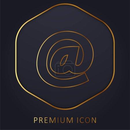Arroba Symbol golden line premium logo or icon