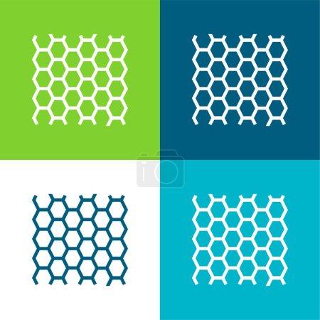 Illustration pour Abeilles Panneau Texture Plat quatre couleurs minimum jeu d'icônes - image libre de droit