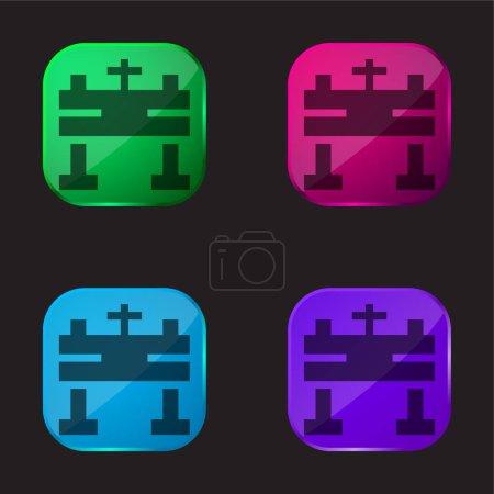 Photo pour Autel icône bouton en verre quatre couleurs - image libre de droit