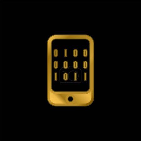 Illustration pour Données binaires d'un ordinateur plaqué or icône métallique ou un vecteur de logo - image libre de droit
