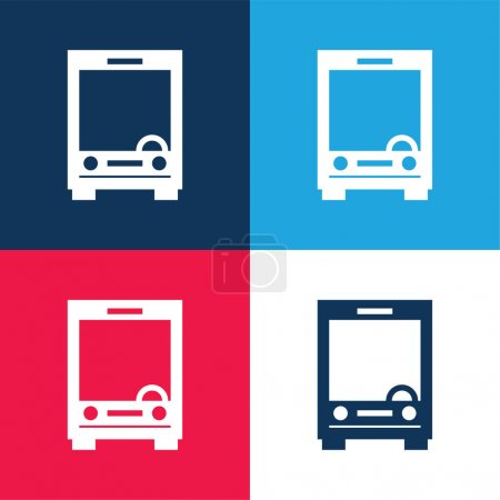 Big Bus Front blue and red four color minimal icon set