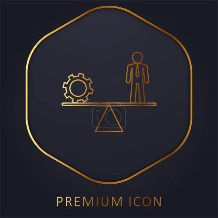 Illustration pour Équilibre entre roue dentée et homme d'affaires ligne d'or logo premium ou icône - image libre de droit