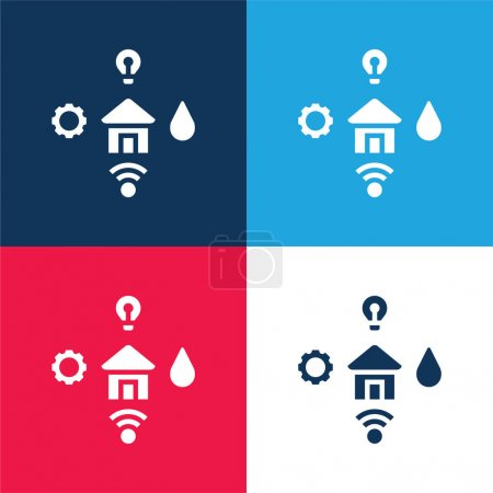 Illustration for Amenities blue and red four color minimal icon set - Royalty Free Image