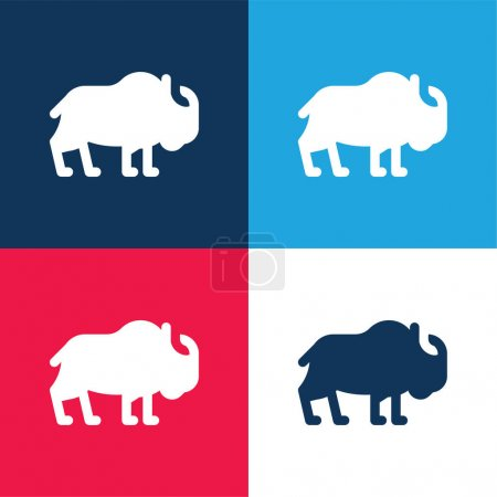 Photo for Bison blue and red four color minimal icon set - Royalty Free Image