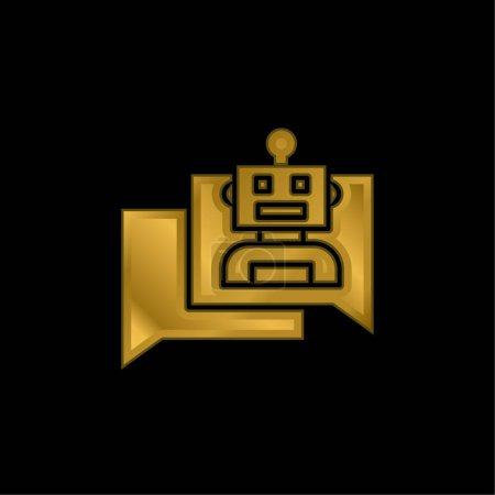 Photo pour Icône métallique plaqué or Bot ou vecteur de logo - image libre de droit