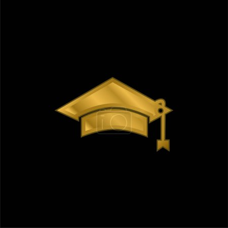 Illustration for Black Graduation Cap Tool Of University Student For Head gold plated metalic icon or logo vector - Royalty Free Image