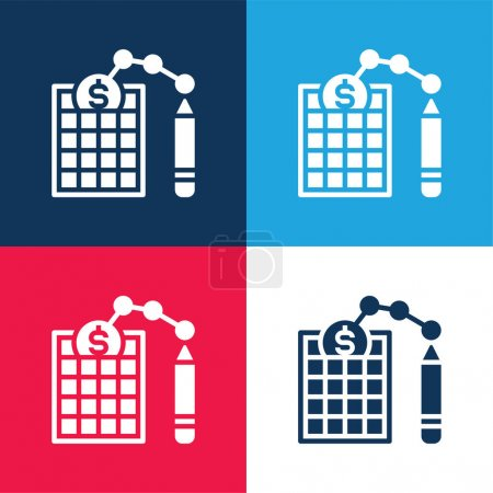 Balance Sheet blue and red four color minimal icon set