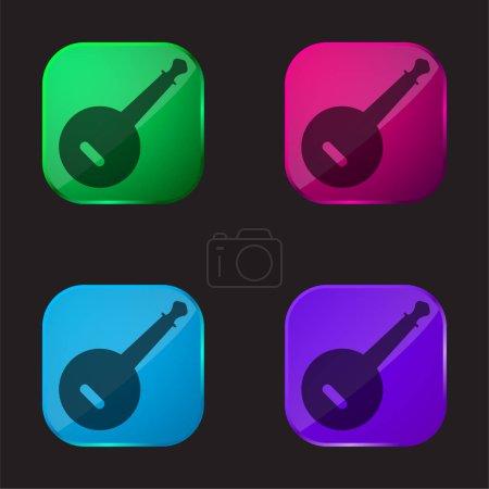 Banjo icono de botón de cristal de cuatro colores