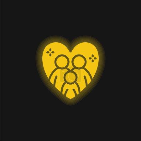 Adoption jaune brillant icône néon