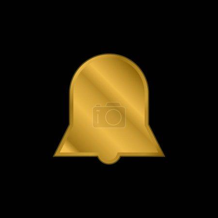 Illustration pour Symbole d'interface de forme noire de silhouette de cloche d'icône métallique plaqué or d'alarme ou vecteur de logo - image libre de droit