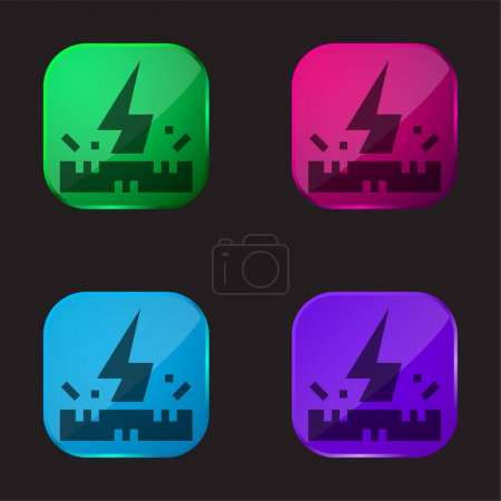 Illustration for Antistatic Fabric four color glass button icon - Royalty Free Image