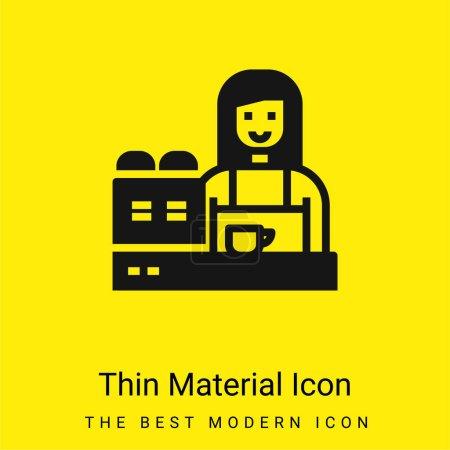 Photo pour Barista minime icône matériau jaune vif - image libre de droit