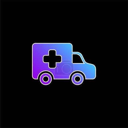 Illustration pour Icône vectorielle de dégradé bleu Ambulance Side View - image libre de droit