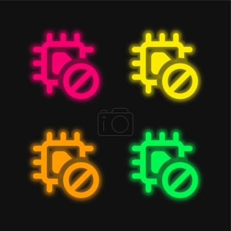 Illustration pour Interdit quatre couleur brillant icône vectorielle néon - image libre de droit