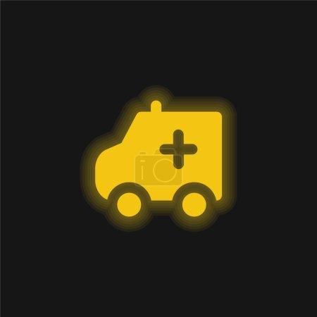 Illustration pour Ambulance jaune flamboyant icône néon - image libre de droit