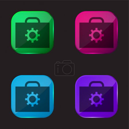 Illustration for Briefcase four color glass button icon - Royalty Free Image