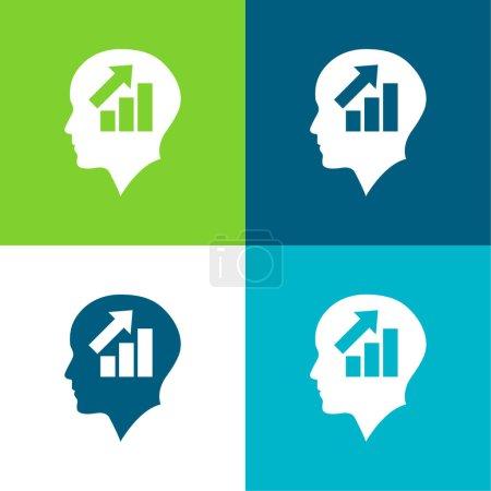 Illustration pour Tête chauve d'un homme d'affaires avec graphique ascendant de barres plat quatre couleurs minimum icône ensemble - image libre de droit