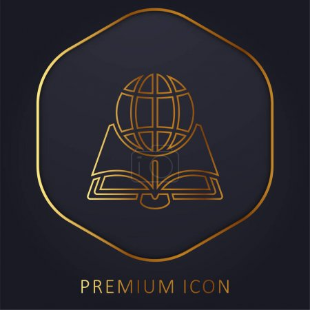 Illustration pour Livre ligne d'or logo premium ou icône - image libre de droit