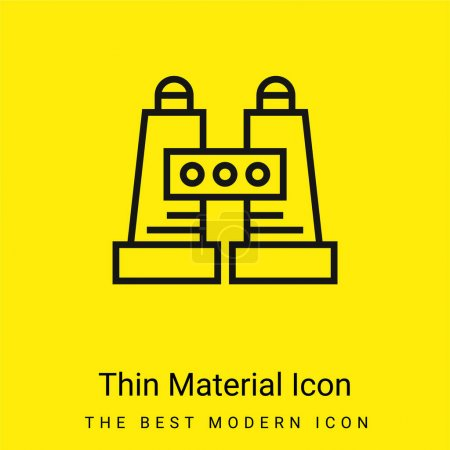Illustration for Binoculars minimal bright yellow material icon - Royalty Free Image