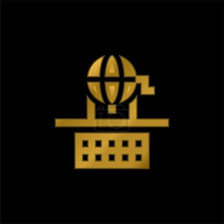 Bingo gold plated metalic icon or logo vector