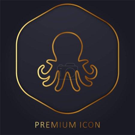 Aquarium Octopus golden line premium logo or icon