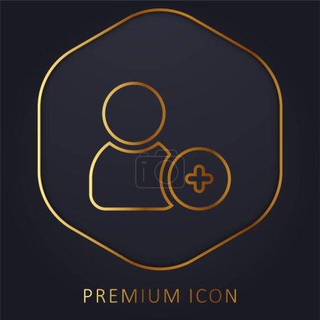 Illustration pour Ajouter un ami ligne d'or logo premium ou icône - image libre de droit