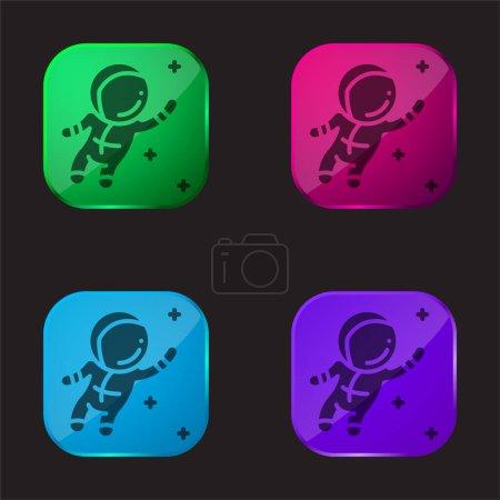Illustration pour Astronaute icône bouton en verre quatre couleurs - image libre de droit