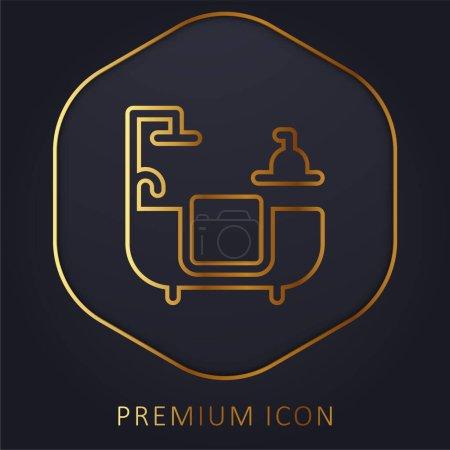 Bathroom golden line premium logo or icon