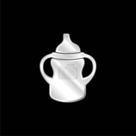 Photo pour Variante de biberon avec poignée des deux côtés icône métallique argentée - image libre de droit