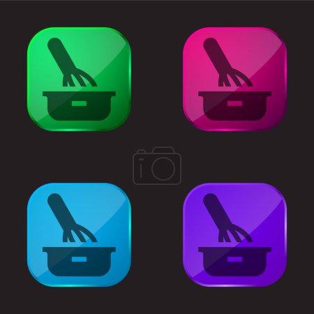 Illustration pour Cuisson icône bouton en verre quatre couleurs - image libre de droit