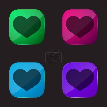 Illustration pour Big Black Heart icône bouton en verre quatre couleurs - image libre de droit