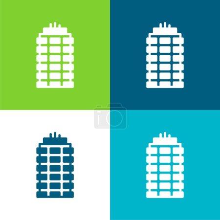 Illustration pour Appartement Flat quatre couleurs ensemble d'icône minimale - image libre de droit